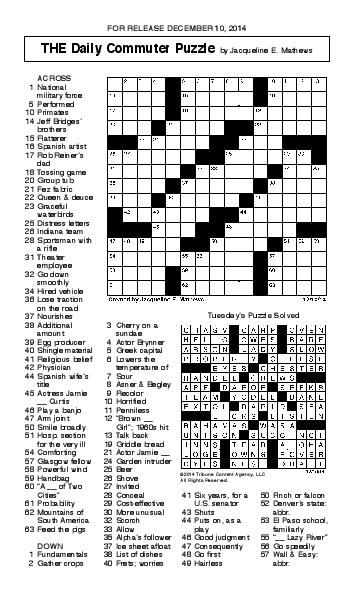 crossword december 10 puzzles