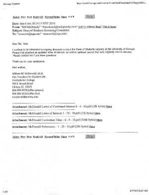 Dr William M McDonald cover letter résumé The Red and