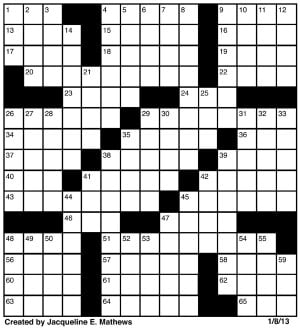 Crossword, Jan. 8 - The Red and Black : Puzzles