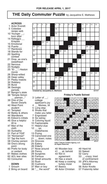 crosswords april 1 2017 crosswords redandblackcom