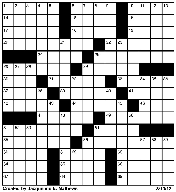 Crossword March 13 | Puzzles | redandblack.com