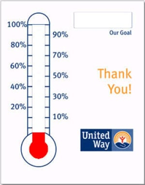 money thermometer template - united way campaign off to a record breaking start