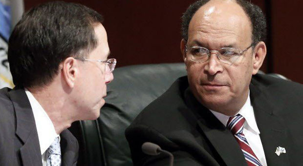 "<p>Chesterfield County Administrator James J.L. Stegmaier spoke to Board of Supervisors member James M. ""Jim"" Holland during a public hearing in March 2014.</p>"