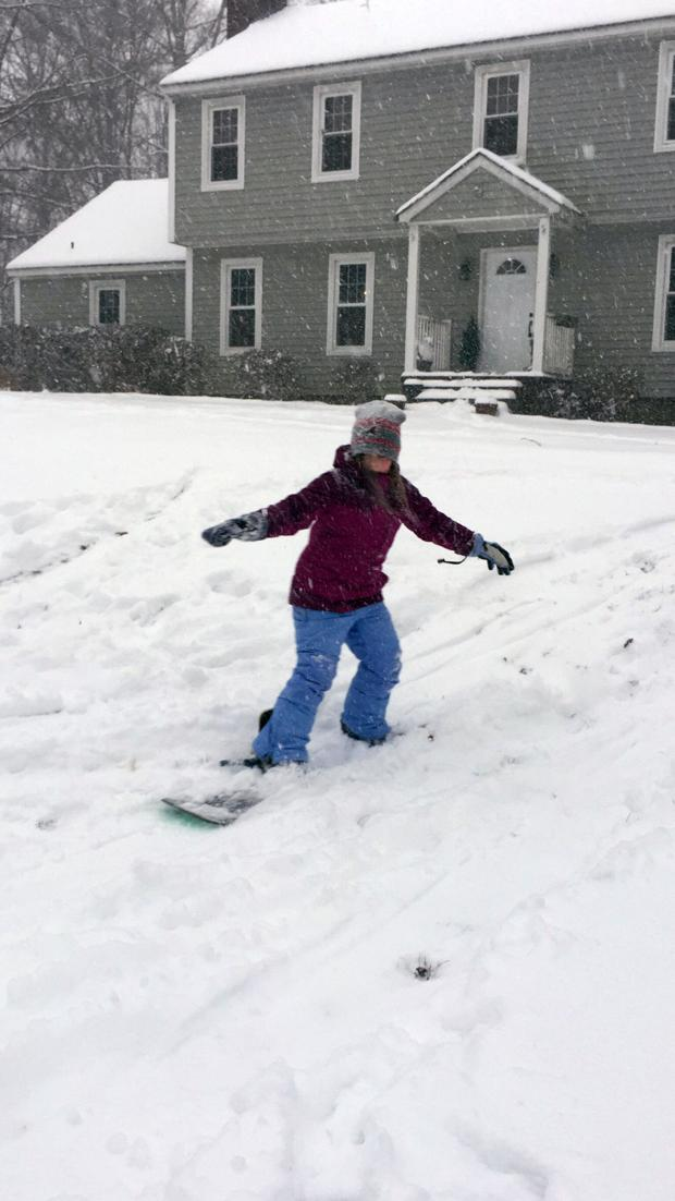 Nadia Logue trying out snowboarding for the 1st time in Bon Air!