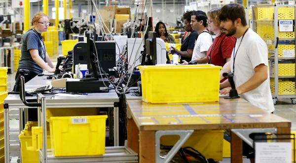 <p>The packing area at the Amazon.com fulfillment center in Chesterfield County VA.</p>