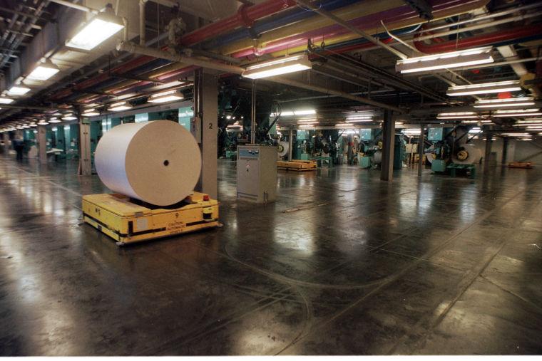 Newsprint to presses at printing plant, 2004