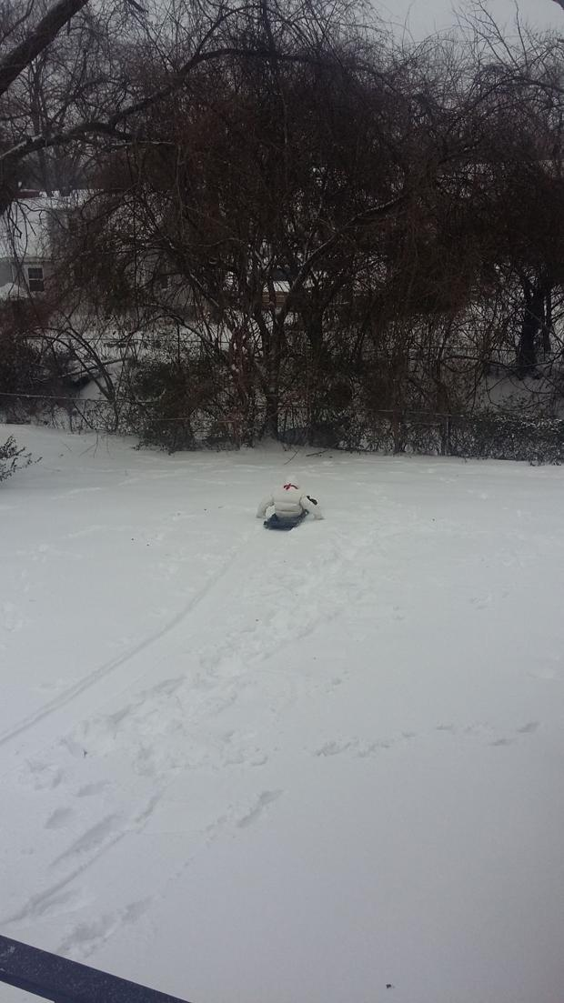 My daughter was sled riding at our house in Lakeside. We have a little hill.