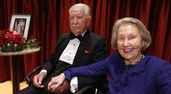 <p>J. Harwood Cochrane, with his wife Louise, was a trucking magnate and prominent philanthropists. Here they are seen in 2014 as they celebrated their 80th wedding anniversary with a private gala.</p>