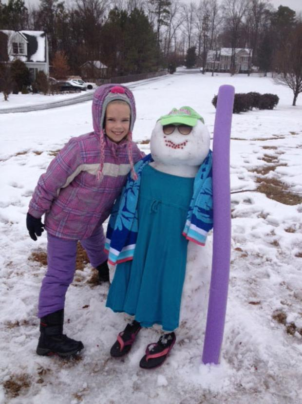 Your snow photos: Charlotte and her snowgirl