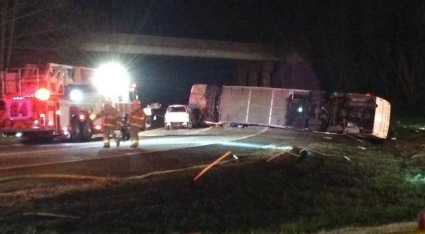 <p>A bus is overturned on an exit ramp off of the Powhite Parkway onto the Chippenham on Sunday, Nov. 30th.</p>