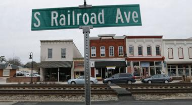 <p>Businesses along S. Railroad Avenue in Ashland, Virginia. A plan for a high-speed rail between Richmond and Washington, D.C. has ruffled some feathers among Ashland residents since one idea is to run a third rail directly down Railroad Ave. along the two existing rails. Feb. 7, 2016</p>