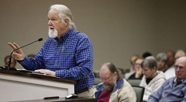 <p>Bill Johnson of the local Sierra Club speaks out against allowing fracking in Westmoreland County.</p>