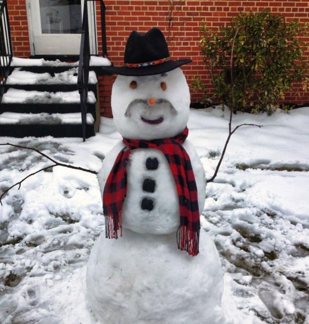 Mustache' the snowman!