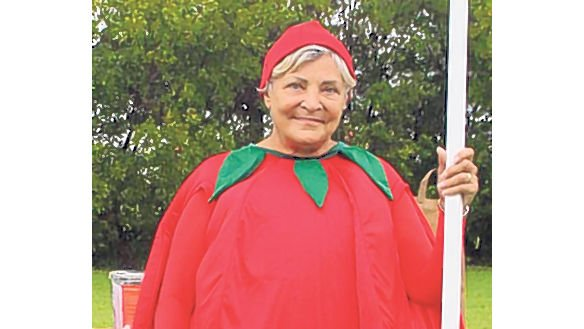 "<p>Gail Hedley, a member of the Hanover Optimist Club, is donned in her tomato attire. The club sponsors the Best Dressed Tomato Contest in the ""Mater FUN Zone"" and does a tomato walk.</p>"