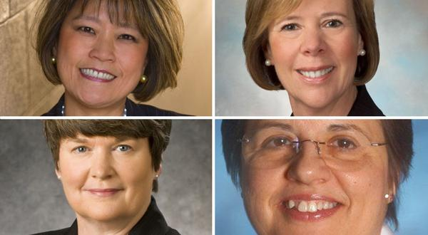 <p>(Clockwise, from upper left) Michelle S. Lee, founder, STG International Inc.; Gail Letts, Virginia president for First Tennessee Bank; Toni Ardabell, CEO of Bon Secours Richmond Health System; and Kathy Curtis, senior vice president for power generation at Dominion Resources Inc.</p>