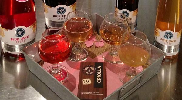 <p>Rose cider flights at Blue Bee Cider for Valentine's Day.</p>