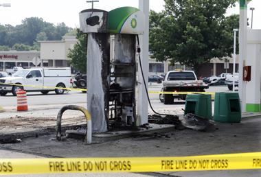 <p>Aftermath of fatal fire at BP gas station at the intersection of Lee Davis Roand and Mechanicsville Turnpike.</p>