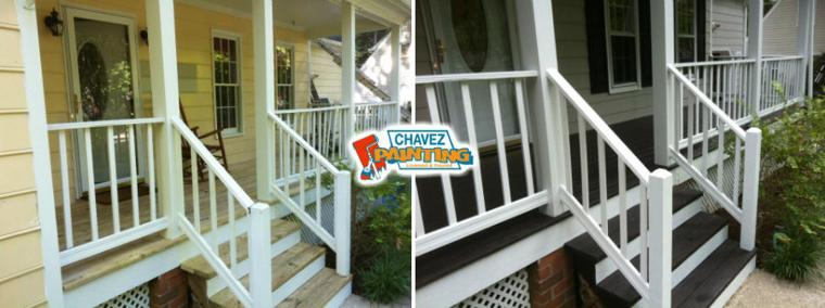 Chavez Painting Porch Before and After