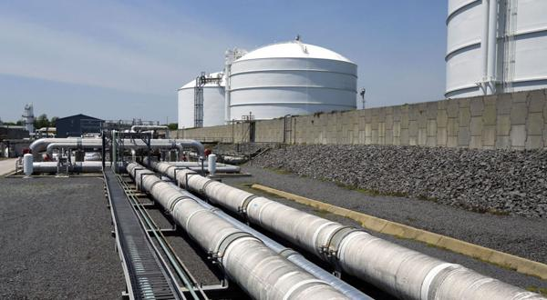 <p>At the Dominion Cove Point Liquid Natural Gas facility in Lusby, Md., liquid natural gas moves through the large pipes and is stored in tanks.</p>