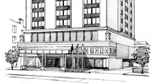 <p>Artist's rendering of the proposed remodelling of the Doubletree Hotel in Richmond.</p>