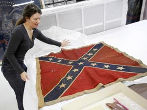 an original Southern battle flag for panel