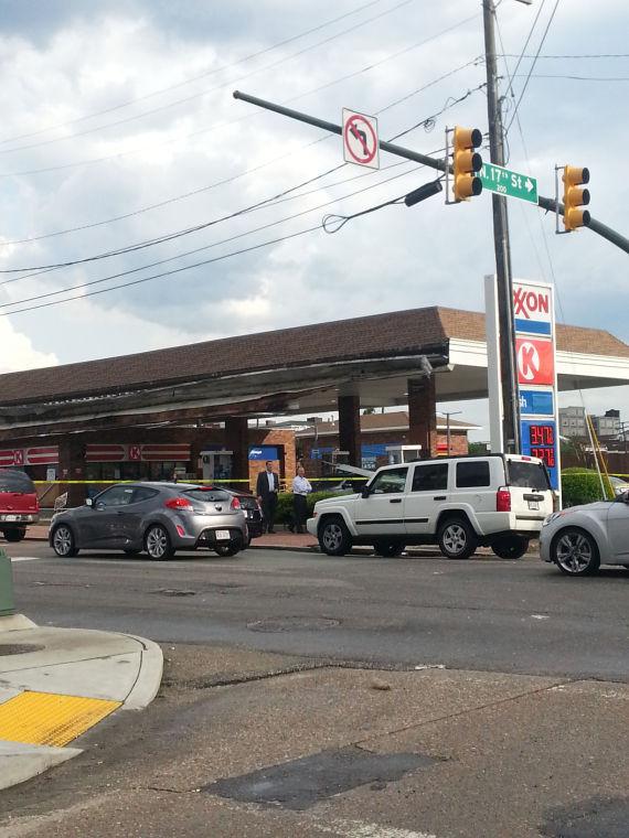 Exxon storm damage on Broad Street