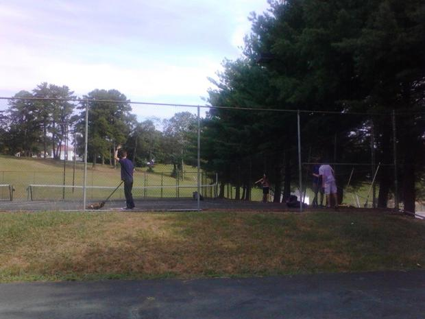 Columbian Squires Clean Up Longwood Park Tennis Court