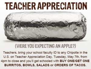 Chipotle Teacher Appreciation Week: Tuesday  Teacher Appreciation Day at Chipotle   Columns   roanoke com,