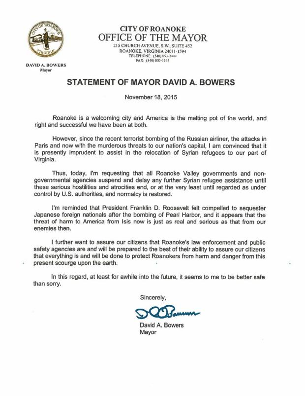 roanoke mayor david bowers broadly condemned for statements on