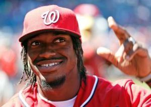 Redskins quarterback Robert Griffin III at the Nationals game