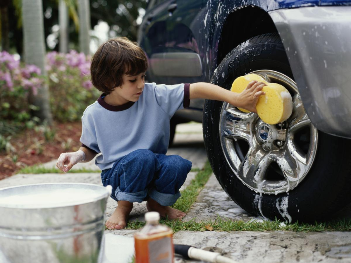 dadline children of all ages can work hard to a job work car washing