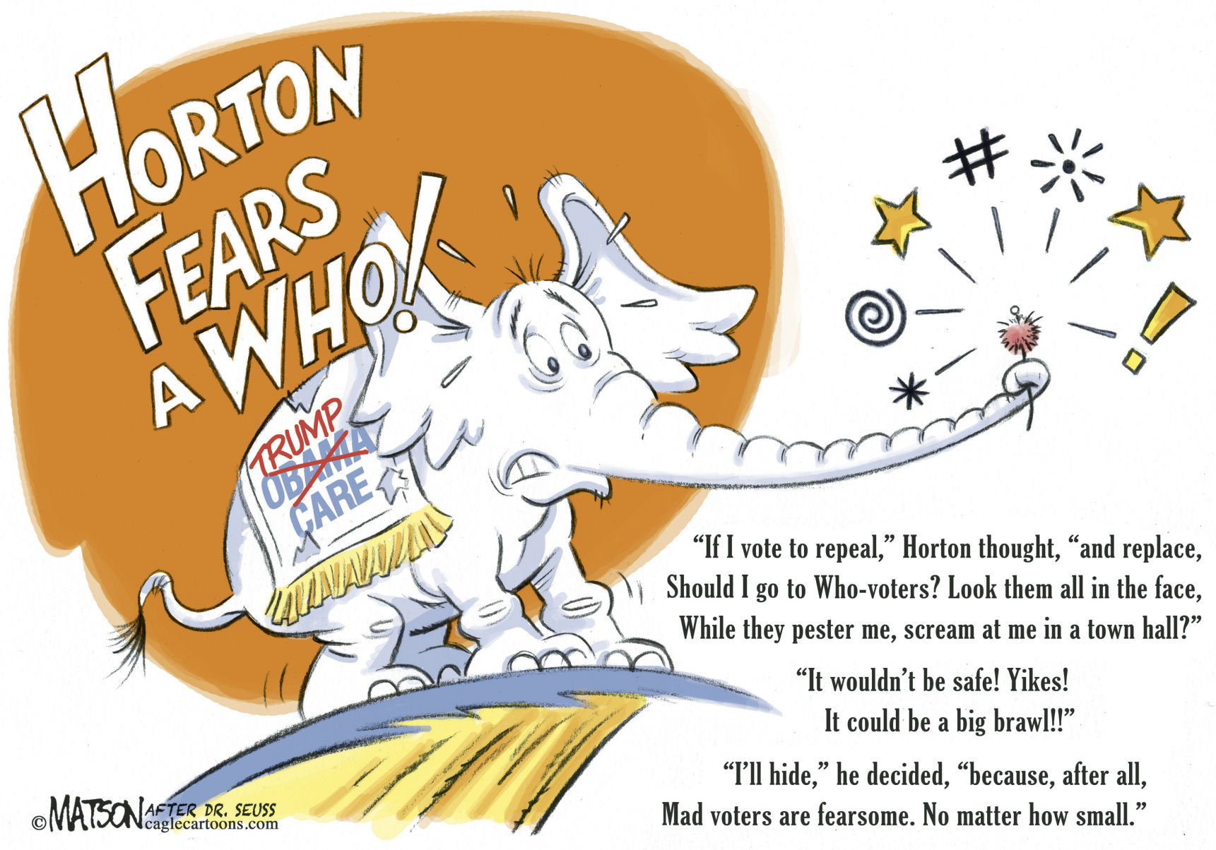 Title:  Horton Fears a Who!  Image:  Republican Elephant wearing a