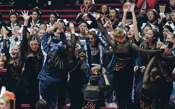<p>The St. Michael's dance team celebrates Saturday after winning the Class AAAA title at the State Spirit Championships at The Pit in Albuquerque. For more photos, go to tinyurl.com/olznnfq. Clyde Mueller/The New Mexican</p>