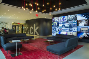 The reception area at Shutterstock, one of the Empire State Building's new tenants, in New York.