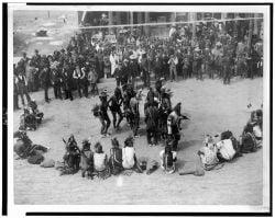 <p>Great Omaha pow-wow dance of the Cheyennes in Montana, circa 1891</p>