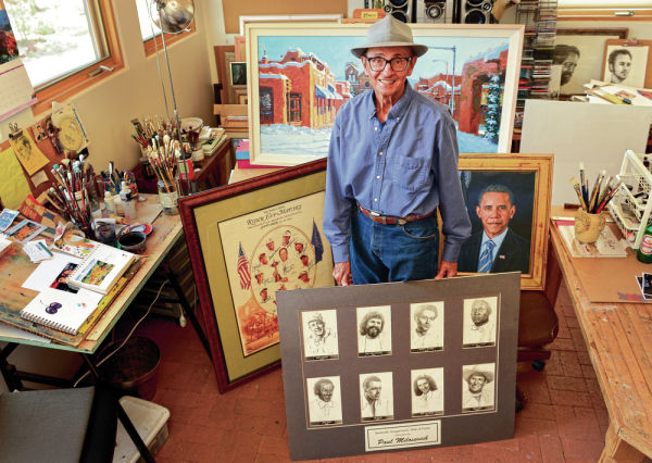 <p>Paul Milosevich, shown at his home studio Wednesday, has had a 54-year career that includes drawings of country songwriter hall-of-famers, golfer Ben Crenshaw and U.S. presidents. Clyde Mueller/The New Mexican</p>