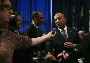 Mayor Ray Nagin speaks during a news conference in New Orleans in 2008.