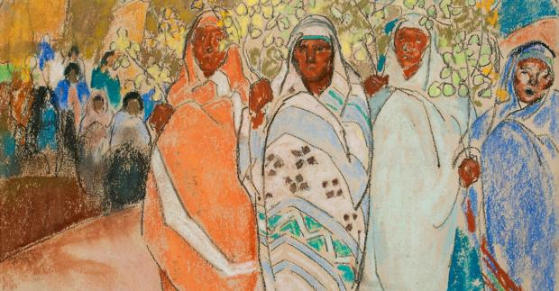 William Penhallow Henderson: Untitled (Indians at Pueblo), 1917, pastel on paper