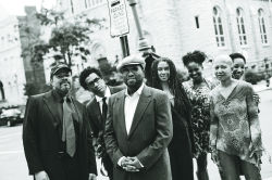 <p>From left, John Keene, Thomas Sayers Ellis, Major Jackson, Sharan Strange, Tracy K. Smith, Janice Lowe, and Tisa Bryant</p>
