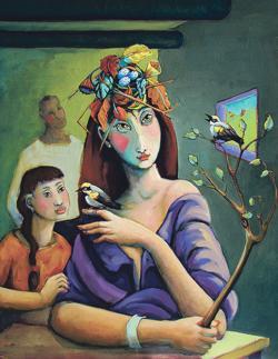 <p>Arlene LaDell Hayes: <em>Bird Song</em>, 2014, oil</p>