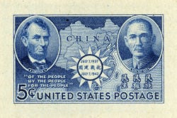 <p>A five-cent Chinese Resistance die proof: Sun Yat-sen appears with Abraham Lincoln on a 1942 stamp.</p>