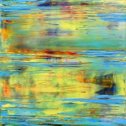 <p>Mark White: <em>Blue Waves I</em>, 2014, oil on panel</p>