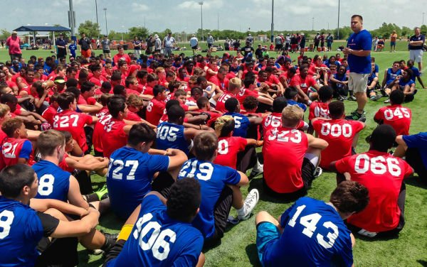 <p>Donald Hooton Jr. on April 27 addresses players at the USA Football regional camp about the potential dangers of using performance-enhancing substances at the Houston Sports Park in Houston. Experimentation with human growth hormones by America's teens more than doubled in the last year, according to a large-scale national survey. Hooton works for the Taylor Hooton Foundation, named after his brother, Taylor, a 17-year-old high school athlete whose suicide in 2003 was blamed by his family on abuse of steroids. Courtesy Donald Hooton Sr.</p>