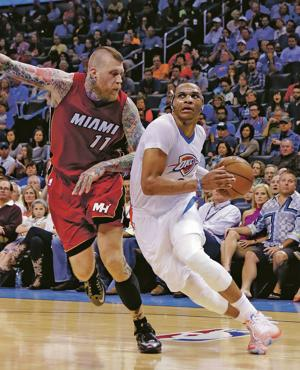 Westbrook gets triple-double as Thunder beat Heat 93-75
