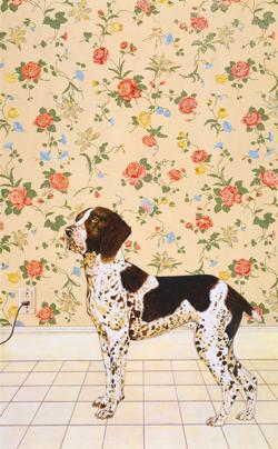 <p>Ellen Fuller: <em>Dog with Wallpaper,</em> 2005, acrylic on canvas</p>