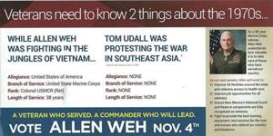 Weh claims Udall has no 'allegiance' to U.S. over lack of Vietnam service