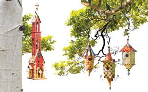 Red Double-bell & Pagoda Birdhouses