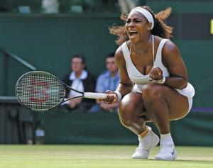 2 points from loss, Serena wins at Wimbledon; Venus next