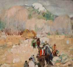 <p>Leon Gaspard: <em>Taos Procession</em>, oil on canvas; images courtesy Nedra Matteucci Galleries</p>