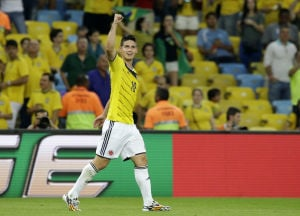 Colombia beats Uruguay 2-0 at World Cup